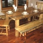 log dining table, which were starting to have. only have the coffee table and end table so far. soon well have the kicthen table. so pretty...