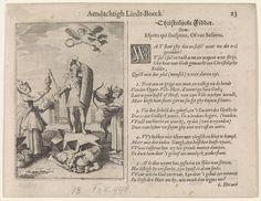 Jan van de Velde (II)   Ridder omringd door allegorische figuren, Jan van de Velde (II), Pieter Serwouters, David Vinckboons, 1622   Een christelijke ridder, in harnas en met schild en zwaard, staand op een rotsblok. Voor hem ligt Afgunst, met slangen en hart. Links naast hem staat Vrouw Wereld die hem tevergeefs geschenken aanbiedt. Rechts een man met bril en boek in zijn hand, de filosofie of wetenschap symboliserend, en een duivel op bokkenpoten met pijl en boog. Boven de ridder een engel…