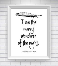 Midsummer Night's Dream Print , Literary Quote Typography Print - Black and White - William Shakespeare Quote Print-  Classic Lit on Etsy, $14.93