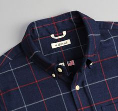 The Hill-Side - Brushed Indigo Flannel Button-Down Shirt, Narrow Check (Made in the USA)