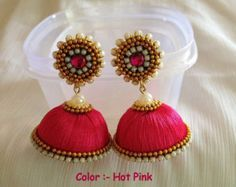 Colors & size available dangling silk thread jhumkas by CozMHappy Silk Thread Earrings Designs, Silk Thread Jhumkas, Silk Thread Bangles Design, Silk Thread Necklace, Silk Bangles, Beaded Necklace Patterns, Thread Jewellery, Jewelry Patterns, Jewellery Designs