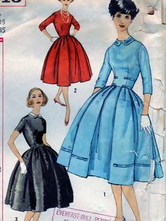 Jr. Misses And Misses One-Piece Dress With Detachable Collar - Size 15 B35 - Simplicity 2615  #sharpharmade