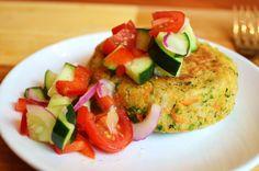 Chickpea & Brown Rice Veggie Burgers with Tomato Salad