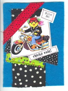 Biker Chick print and fabric combo by 2@245design. 2at245@gmail.com #whimsical #motorcycles #fabrics