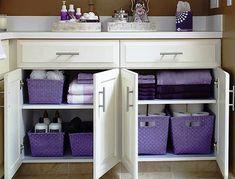 By sorting through everything in the bathroom, the homeowners identified what they needed to have in the bathroom, what could be moved elsewhere (like jewelry), and what simply needed to be tossed (expired toiletries). A system of baskets divides products Girl Bathrooms, Purple Bathrooms, Girl Bathroom Ideas, Purple Bathroom Accessories, Douche Design, Apartment Living, Diy Home Decor, Organization Ideas, Kids Bathroom Organization