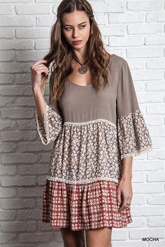 Kelly Brett Boutique: Women's Online Clothing Boutique - Boho Peasant Dress Mocha, $36.00 (http://www.kellybrettboutique.com/boho-peasant-dress-mocha/)