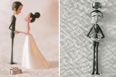 Tim Burton claymation cake toppers + rings.