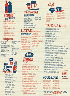Carta Carta Restaurant, Diner Menu, Tapas Bar, Branding, Somali, Graphic Design Print, Menorca, Menu Cards, Menu Design
