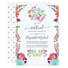 Colorful Floral Mexican Fiesta Virtual Wedding Invitation - tap/click to get yours right now! #Invitation #cinco #de #mayo #mexican #fiesta Mexican Wedding Invitations, Bridal Shower Invitations, Custom Invitations, Invitation Design, Mexican Bridal Showers, Bride Shower, Wedding Announcements, Floral Watercolor, Wedding Ceremony