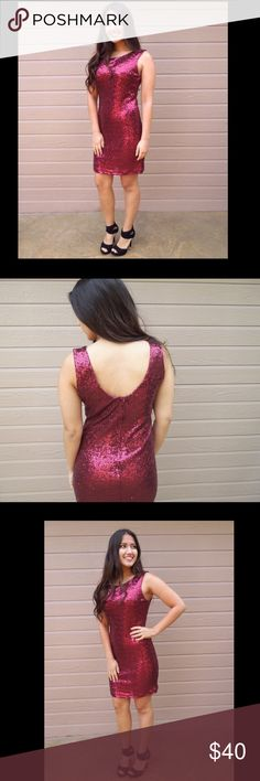 💘BOGO💘Wine Red Sequin Dress It's wine time! Be the sparkly center of attention at any event in this beautiful dress.  Super stretchy with hidden zipper in back.  Fully lined.  Model measurements: 5'3, 26inch waist,34C/32D. This dress was big. Would recommend for a Medium or Large size.    •No Trades•  Interested in free shipping? Check out my Instagram for more info: @JackLagPosh Boutique Dresses