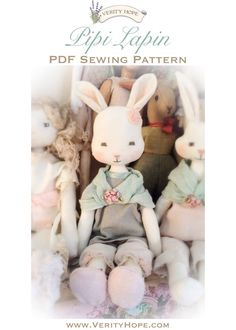 Pipi Lapin PDF Cloth Bunny Sewing Pattern    Skill Level: Beginner - Intermediate    Pipi Lapin is a very appealing looking cloth bunny and a delight