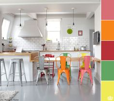 splashes of color, but with dark floors instead of light ones