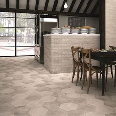 Introduce the beauty of natural looking stone into your home with the gorgeous soft tones of the Memphis Grey hexagon floors tiles. These durable porcelain tiles fit beautifully into both traditional or contemporary environments and are available in four authentic looking shades. If you require exterior floor tiles we suggest ordering the anti-slip version. Grey Bathroom Tiles, Grey Floor Tiles, Kitchen Wall Tiles, Kitchen Flooring, Kitchen Cabinets, Outdoor Flooring, Grey Flooring, Floors, Tile Warehouse