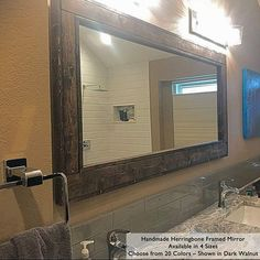 Best farmhouse wall decorations and rustic wall decor you will love. We absolutely love country themed wall decorations including farmhouse wall art, canvas art, mirrors, and more. Farmhouse Mirrors, Rustic Mirrors, Farmhouse Wall Decor, Rustic Walls, Rustic Decor, Farmhouse Style, Large Framed Mirrors, Wood Framed Mirror, Mirror Mirror