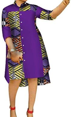 Beautiful Comaba Women Shirts Casual Floral African Print Hi-Low Plus Size Dresses fashion womens dr African Dresses For Kids, Latest African Fashion Dresses, African Dresses For Women, African Print Dresses, African Print Fashion, Africa Fashion, African Attire, African Inspired Fashion, Modern African Dresses