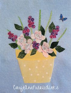 Free flower applique pattern and instructions using applique pressing sheet. Create an intricate flower pot floral applique using pressing sheet. Sewing Stitches, Sewing Patterns, Flower Applique Patterns, Leaf Outline, Free Motion Embroidery, Sewing Lessons, Hand Puppets, Free Pattern, Floral Prints