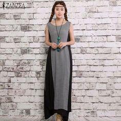 ZANZEA Fashion 2017 Summer Womens Sleeveless Cotton Linen Dresses Vintage Dress Casual Loose Long Maxi Vestidos S-2XL