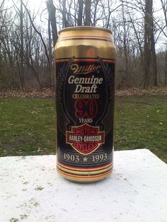 Miller Genuine Draft Harley Davidson 16oz Beer Can Milwaukee WI 1993 Anniversary