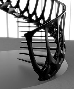 "Vertebrae Staircase by Andrew McConnell (Canadian architect). Concept is based on a whale's backbone. ""Each piece would incorporate one step, one banister and part of the hand rail, interlocking to create a rigid, self-supporting structure."" (Dezeen)"