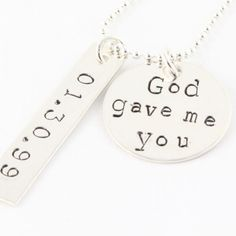 Sweet God Gave Me You sterling silver custom and personalized necklace!