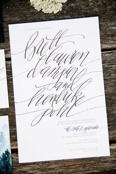 Calligraphy Wedding Invitations | via RedBird Paperie