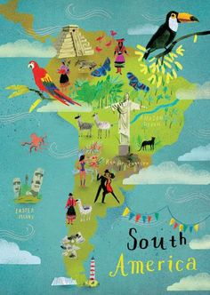 South america Itinerary Map - - South america Crafts For Kids Classroom - - Columbia South america Art Latin America Map, South America Continent, South America Map, South America Destinations, Poster Photo, Travel Illustration, Travel Maps, Travel Design, Vintage Travel Posters