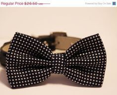 Black Dog Bow Tie , Cute Dog Bowtie- with high quality Black leather collar, Polka dots dog bow tie on Etsy, $24.50