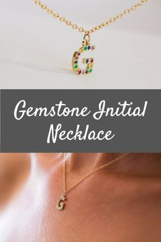 This is a unique rainbow charm initial necklace, made of solid 14K gold, the perfect Gemstone letter initial necklace, a beautiful new mom necklace. Charm Initial Necklace, Gold Initial Necklace, Solid Gold Charm Necklace, 14K Name Necklace, Gemstone Initial Necklace, New Mom Necklace #gemstonenecklaces #rimonjewelry #customnecklace Initial Necklace Gold, Initial Jewelry, Name Jewelry, Necklace Charm, Initial Charm, Name Necklace, Custom Jewelry, Beautiful Gift Boxes, Unique Necklaces