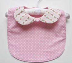 Girl baby bib / Collared bib / Chic baby bib /  Polka dot baby bib