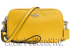 COACH 65547 Crossbody Clutch Messenger Bag Silver/Canary Yellow NWT #Coach #MessengerCrossBody