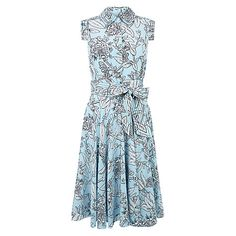 Buy Hobbs Silk Polencia Dress, Barely Blue/Ivory Online at johnlewis.com