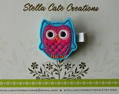 Owl Hairclip - Felt Embroidered Owl - Turquiose and Pink