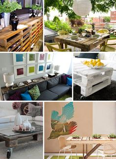 Pallet Possibilities 2  clockwise from top: Pallet Shelving, Pallet Outdoor Dining Table,  White Pallet Coffee Table, Pallet Dining Table, Glass-top Pallet Coffee Table,  Pallet Console Table