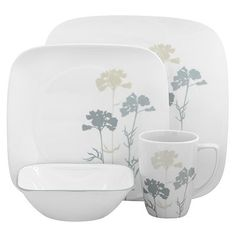 Corelle, made in USA by the United Steelworkers union members. Square Dinnerware Set, White Dinnerware, Dinnerware Sets, Dining Room Colour Schemes, Dining Room Colors, Corelle Patterns, My Home Design, Dining Room Inspiration, Plates And Bowls
