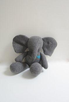 baby Elephant doll stuffed animal Eco friendly Grey by bubyNoa
