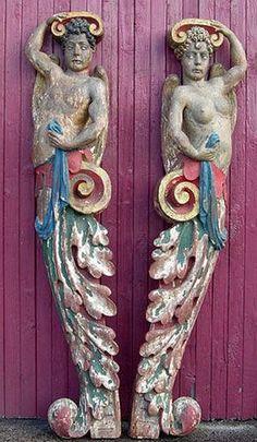Nautical antique statues (pair). 18th-19th century.