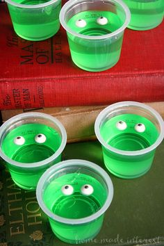 Monster slime jello cups for Halloween party