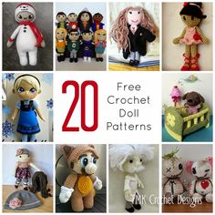 Free Crochet Pattern Round-Up: Dolls. amigurumi, elsa, Mario, big bang theory.
