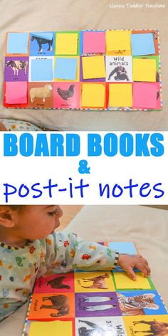DIY Flip Book for Toddlers Board Books & Post-It Notes – HAPPY TODDLER PLAYTIME Looking for a fun way to turn your toddler's board book into a fun learning activity? Check out this easy to set up toddler activity! Quiet Toddler Activities, Infant Activities, Toddler Preschool, Preschool Activities, Toddler Games, Indoor Activities, Diy Toddler Books, Summer Activities, Family Activities