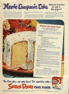 #1950s Merrie Companie Cake Recipe from Swan's Down