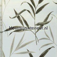 Bamboo behang wit, grijsgroen