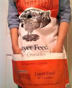 Fresh Eggs Daily Feed Bag Garden Apron Tutorial