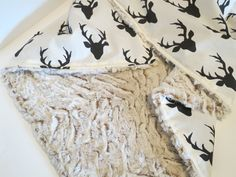 Minky Baby Blanket - Deer/Stag Head Black and White - Woodland Nursery - Baby Bedding - Extra Plush Minky Back by CottonSerenity on Etsy https://www.etsy.com/listing/245144349/minky-baby-blanket-deerstag-head-black