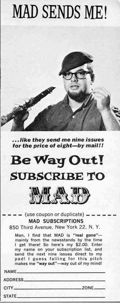 Beatnik Mad magazine subscription | #beatnik #beat #generation
