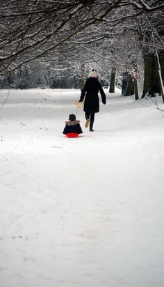 A mother & her son playing in the snow in Mote Park, Maidstone