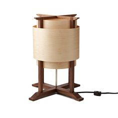"Wooden Wrap Lamp $240.00. Maple Veneer Wood, Black Walnut, Plated Nickel Measurements 10"" L x 10"" W x 15"" H"