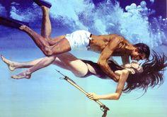 honey-rider:  Robert McGinnis Bond and Domino illustration for Thunderball, 1965