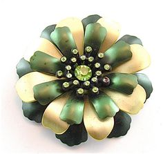 SALE Metallic Flower Brooch Vintage Rhinestone by kiamichi7, $18.00