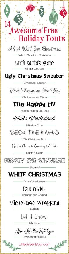 14 Free Holiday Fonts - Fun Graphics - Ideas of Fun Graphics - Looking for some fun Christmas fonts? Check out these 14 free holiday fonts that are guaranteed to make your Christmas cards awesome this year. Holiday Fonts, Christmas Fonts, Christmas Crafts, Holiday Cards, Christmas Ideas, Christmas Decorations, Christmas Tree, Christmas Things, Christmas Traditions
