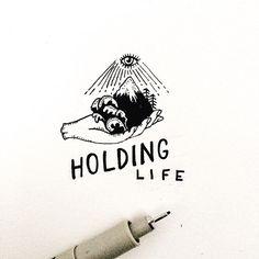 Holding Life.  No tenemos ni idea de lo que tenemos entre nuestras manos.. y de lo que somos capaces de destruir más que de crear.  Al parecer tenemos un arsenal suficiente para hacer desaparecer la vida en la tierra.. y encima vacilan de eso.. Hay cosas que jamás llegaré a entender.  #savethelife #holdinglife #mountain #holdon #lifestyle #illustration #artofday